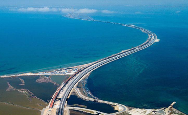 Вид на Крымский мост с высоты птичьего полёта - Керчь
