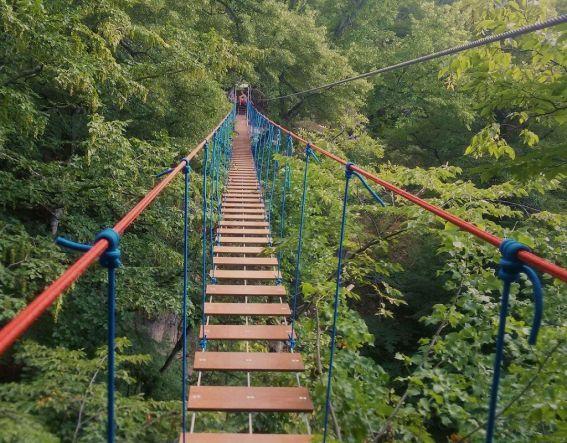 подвесной мост у водопада джур-джур - 2 пещеры+1 водопад